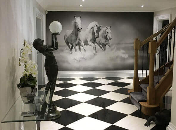 Horses Black and White mural