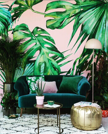 Pink Jungle wall mural