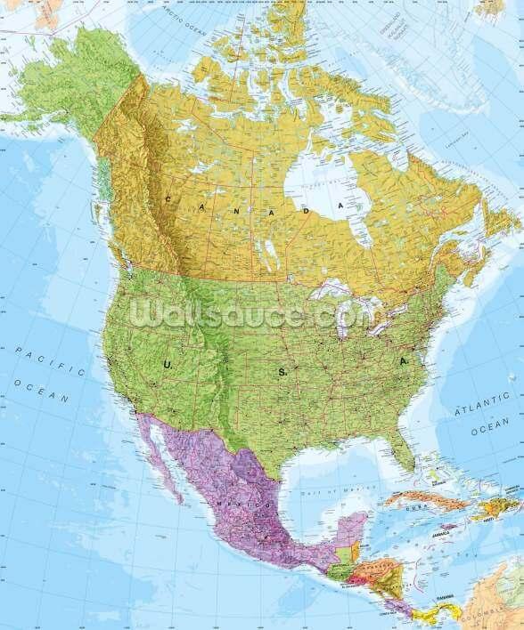 Poliittinen Pohjois Amerikan Kartta Seinamaalaus Wallsauce Fi