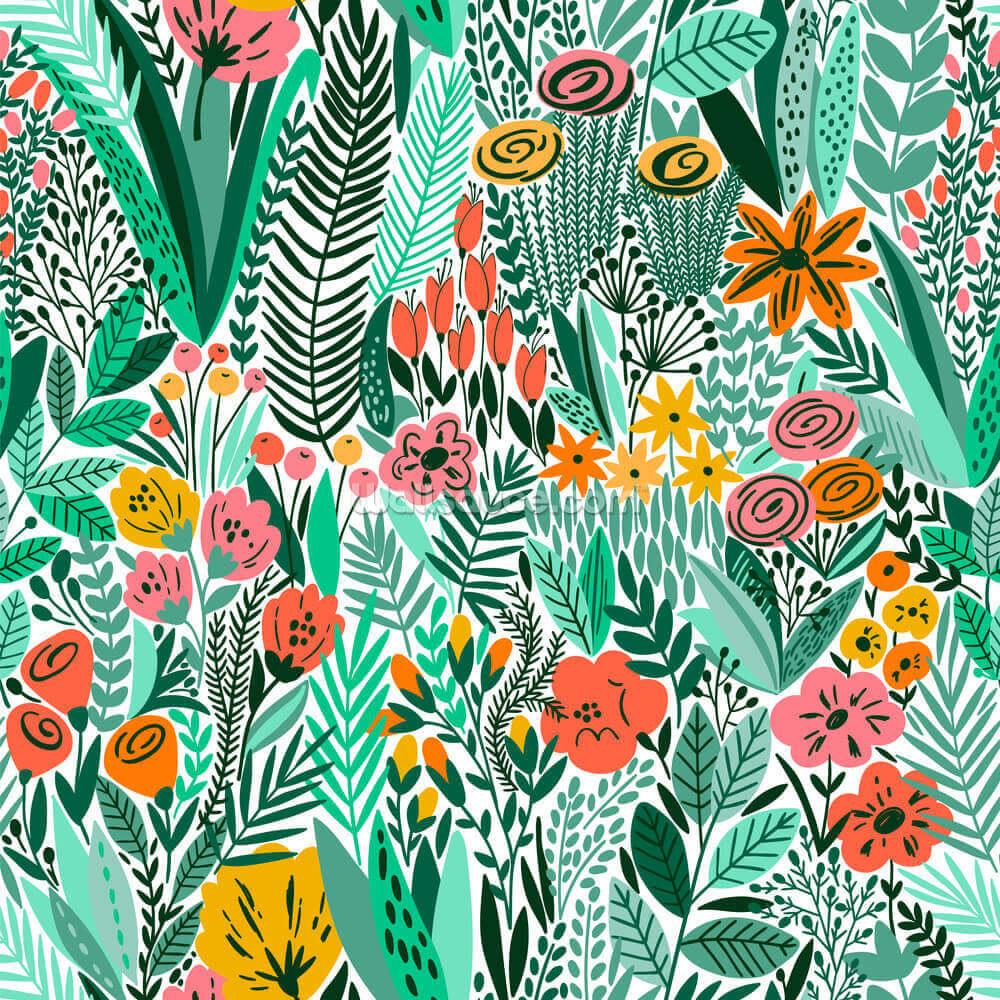 Tropical Floral Pattern Wallpaper Mural Wallsauce Us