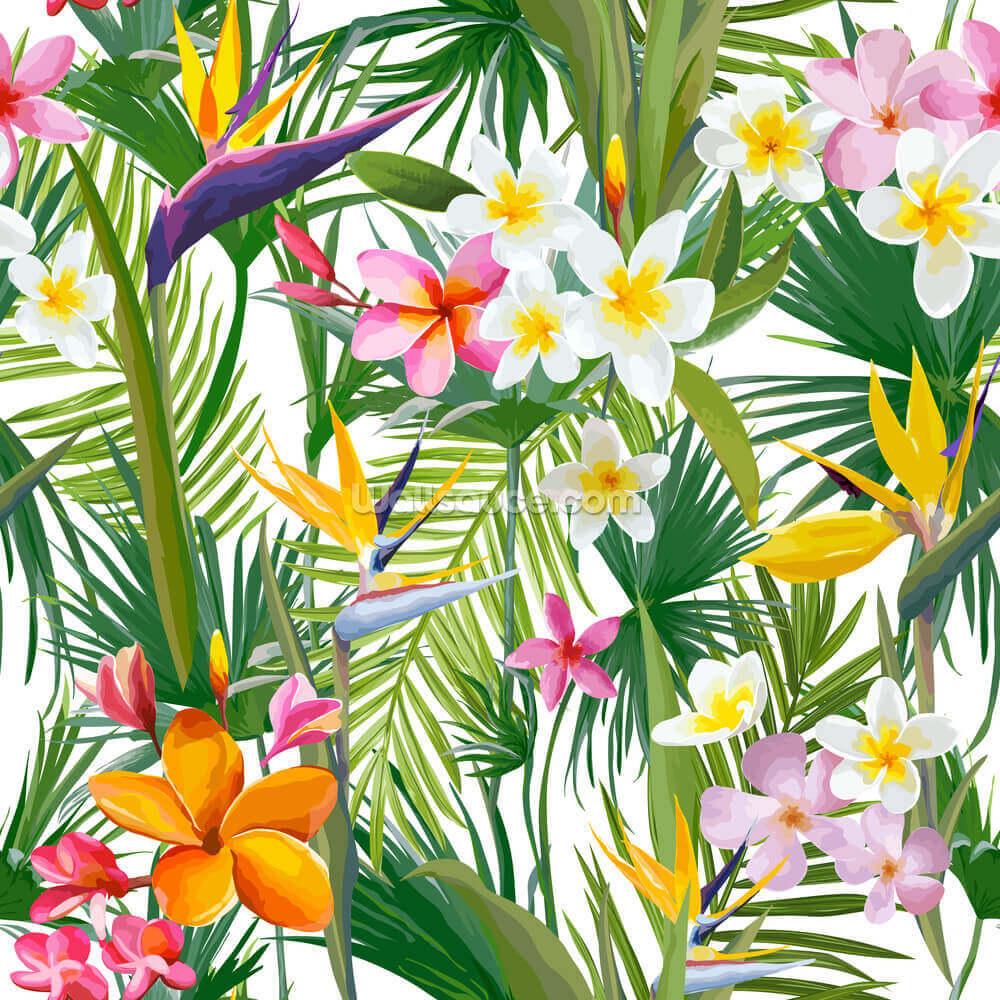 Tropical Palm Leaves And Flowers Wallpaper Mural Wallsauce Us