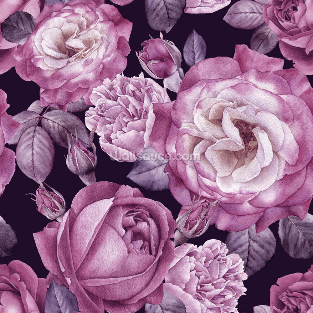 Ultra Violet Roses Dark Floral Wallpaper Wallsauce Us
