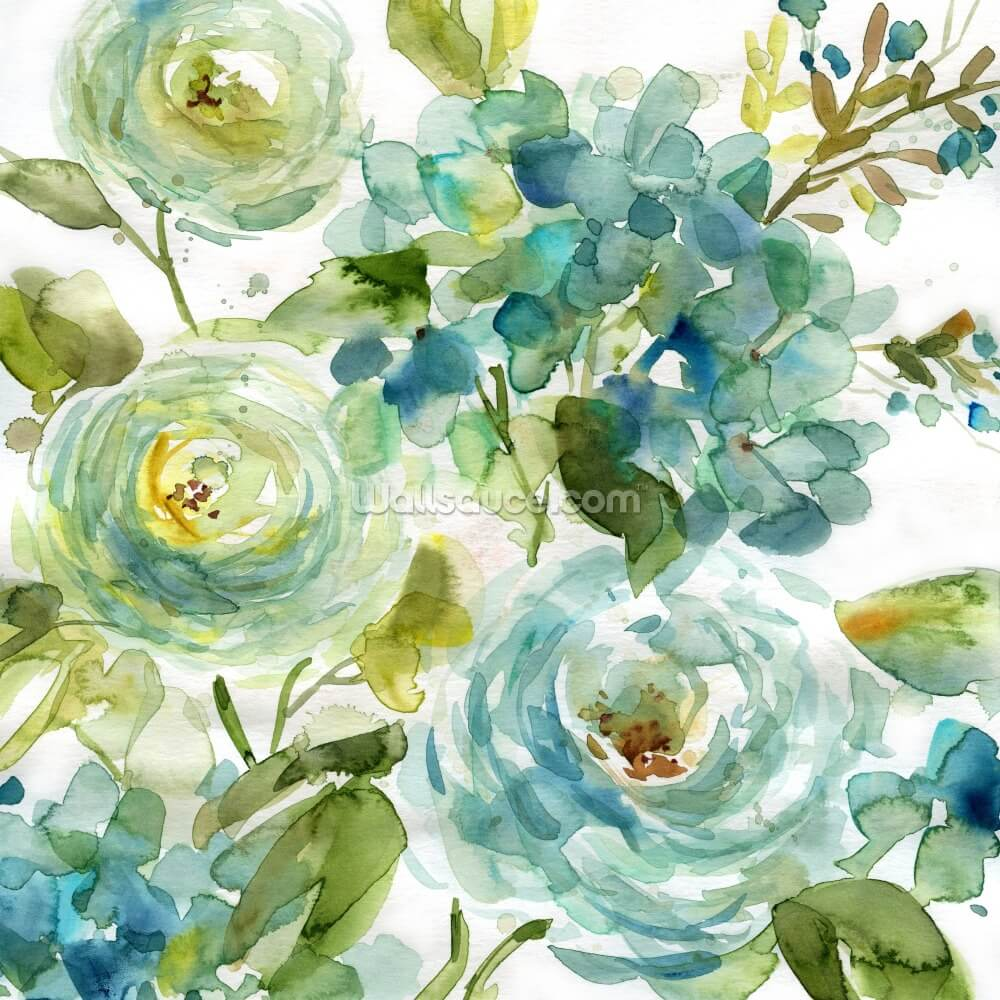 Cool Watercolor Floral Wall Mural Wallsauce Us