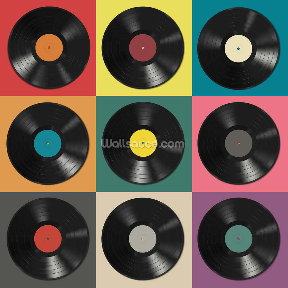Colourful Vinyl Records Wallpaper Wallsauce Us