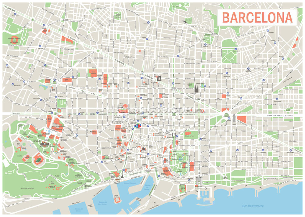 Map Of Barcelona Wallpaper Mural Wallsauce Us