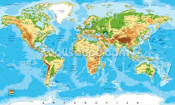 Fysisk Kort Over Verdens Tapetmaleri Wallsauce Dk
