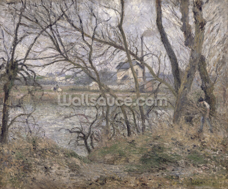 The Banks of the Oise, near Pontoise, Cloudy Weather, 1878 (oil on canvas) Wallpaper Wall Murals