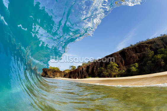 Hawaii, Makena Beach, Beautiful Wave Breaking Along Shore Wallpaper Wall Murals