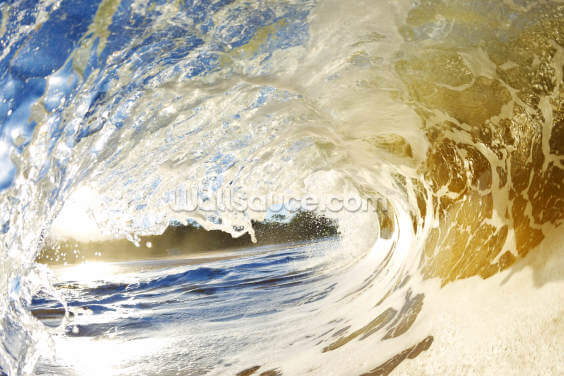 Hawaii, Makena Beach, View Through Tube Of Sandy Wave Wallpaper Wall Murals