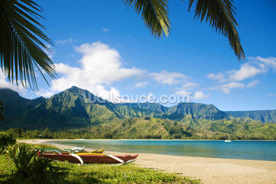 Hawaii, Kauai, Hanalei Bay, Outrigger Canoes On Resort Beach. Wallpaper Wall Murals