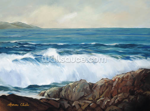 Wave Crashing On Rocky Shoreline Wallpaper Wall Murals