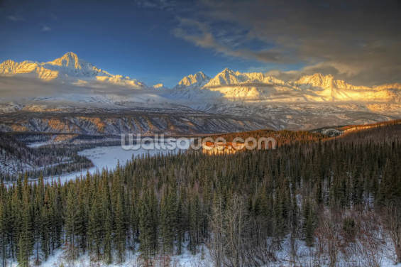 View of the Chugach Mountian Range at Sunset Wallpaper Wall Murals
