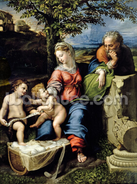 The Holy Family of the Oak Tree, c.1518 (oil on panel) Wallpaper Wall Murals