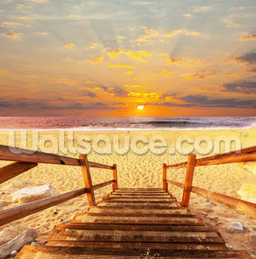 Boardwalk on Beach Wallpaper Wall Murals
