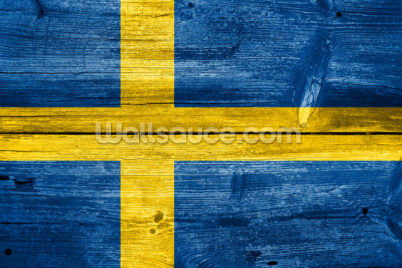 Vintage Swedish Flag on Wood Wallpaper Wall Murals