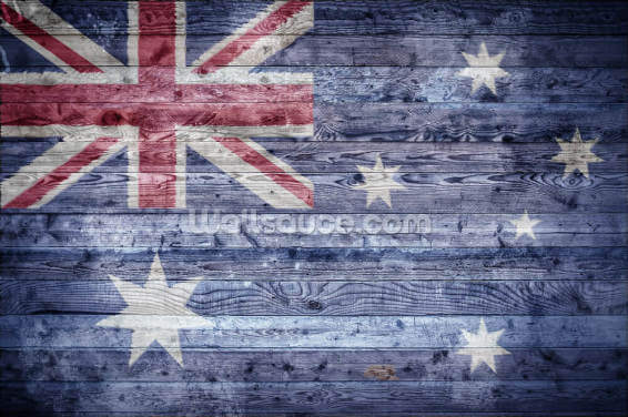 Australian Flag on Wood Wallpaper Wall Murals