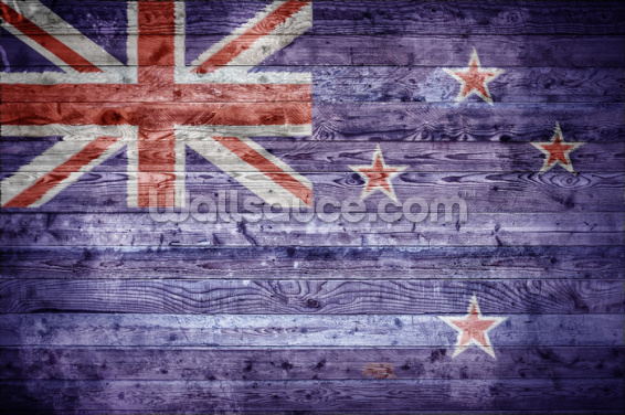 New Zealand Flag on Wood Wallpaper Wall Murals
