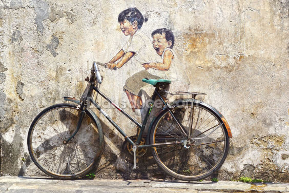 Little Children on a Bicycle Wallpaper Wall Murals