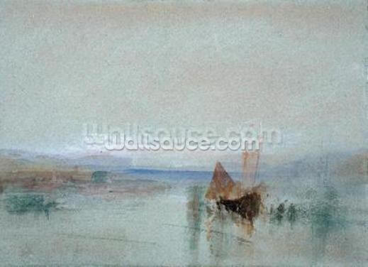 Fishing Boats Becalmed off Le Havre (w/c & bodycolour on blue paper) Wallpaper Wall Murals
