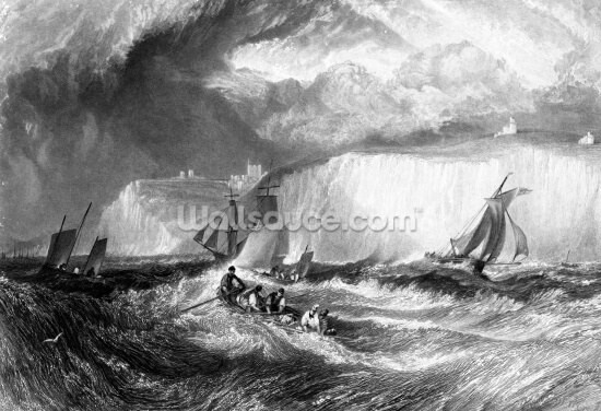 The Straits of Dover, engraved by William Miller, 1827 (engraving) Wallpaper Wall Murals