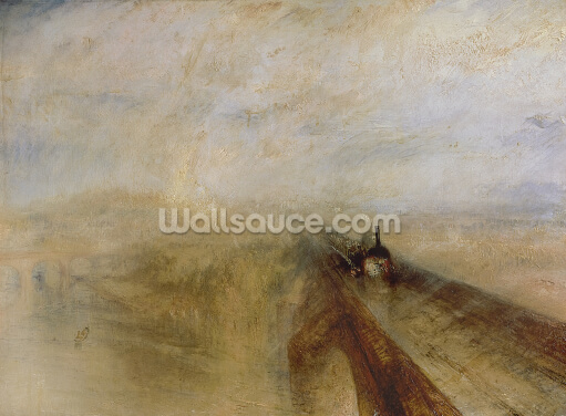 Rain Steam and Speed, The Great Western Railway, painted before 1844 (oil on canvas) Wallpaper Wall Murals