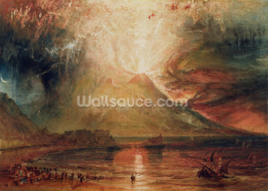 Mount Vesuvius in Eruption, 1817 (w/c on paper) Wallpaper Wall Murals