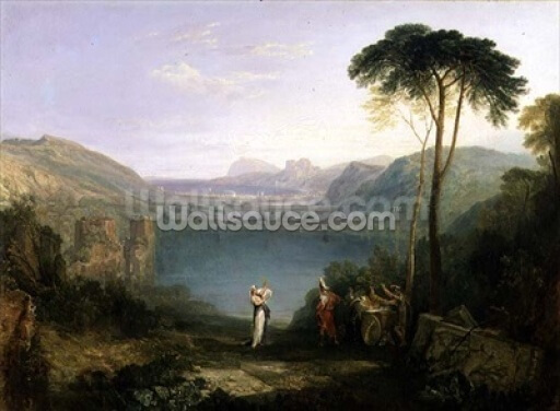 Lake Avernus: Aeneas and the Cumaean Sibyl, c.1814-5 (oil on canvas) Wallpaper Wall Murals