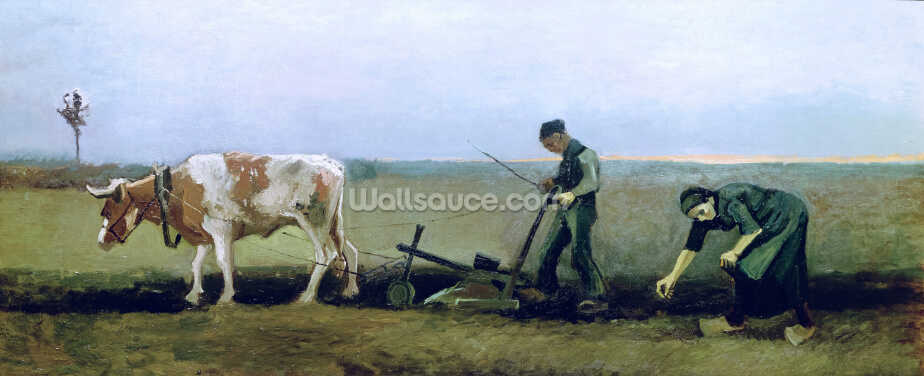 Labourer and Peasant Planting Potatoes, 1884 (oil on canvas) Wallpaper Wall Murals