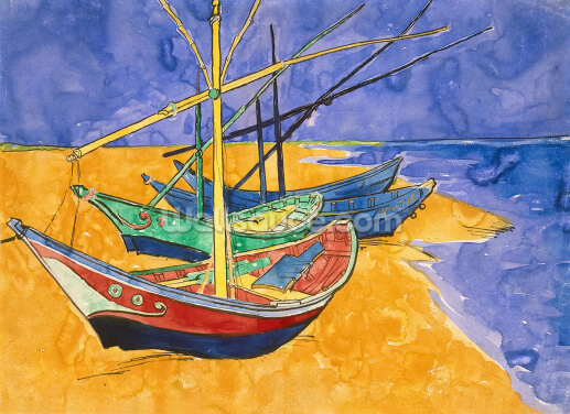 Fishing Boats on the Beach at Saintes-Maries-de-la-Mer (pen & ink with w/c on paper) Wallpaper Wall Murals