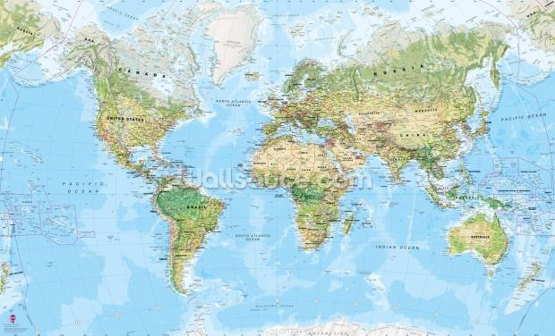 World Wall Map (Environmental) Wallpaper Wall Murals