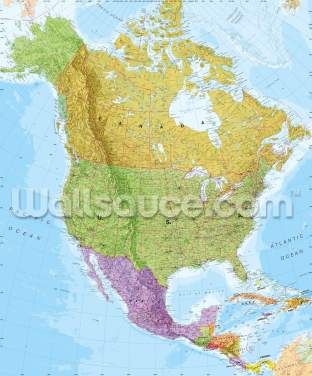 Political North America Map Wallpaper Wall Murals
