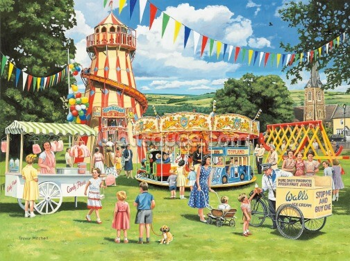 Funfair on the Green Wallpaper Wall Murals