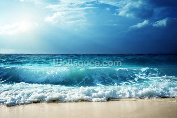 Waves at Seychelles Beach Wallpaper Wall Murals