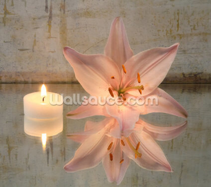 Candle and Lily Wallpaper Wall Murals