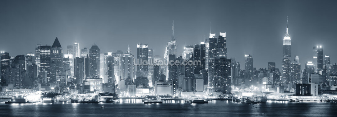 Manhattan Black & White Panoramic Wallpaper Wall Murals