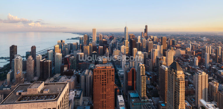 Chicago Skyline from above Wallpaper Wall Murals