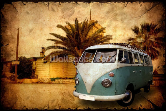 VW Camper on Holiday Wallpaper Wall Murals