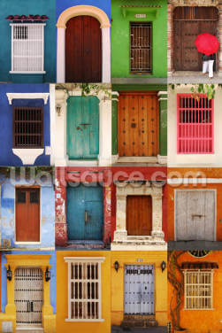 Doors Cartagena, Colombia Wallpaper Wall Murals