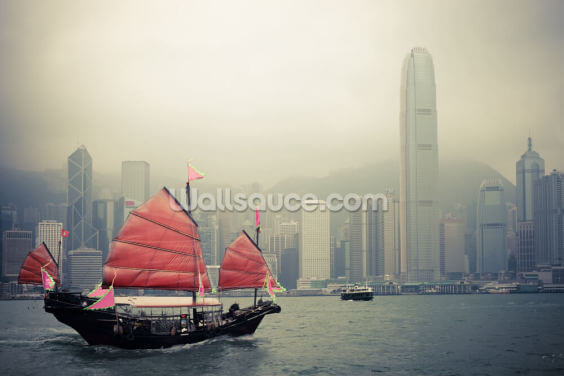 Hong Kong Harbour Mist Wallpaper Wall Murals