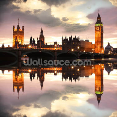 Houses of Parliament Reflection Wallpaper Wall Murals