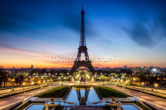 Paris at Night Sunset Wallpaper Wall Murals