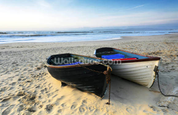 Fishing Boats on the Beach Wallpaper Wall Murals