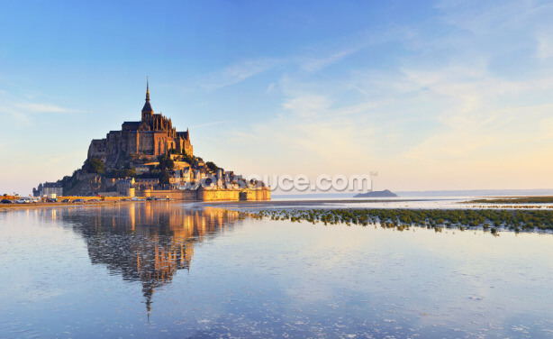 Dawn at Mont Saint Michel Wallpaper Wall Murals