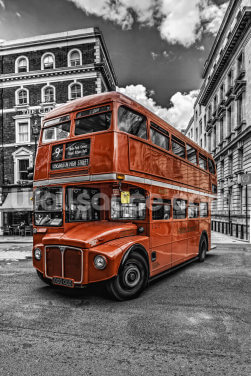 London Bus Colourwash Wallpaper Wall Murals