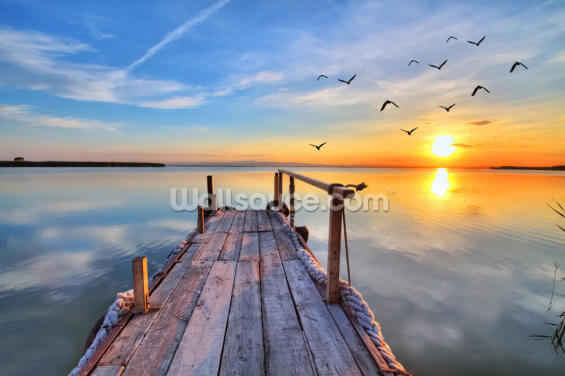 Lake Sunrise Wallpaper Wall Murals