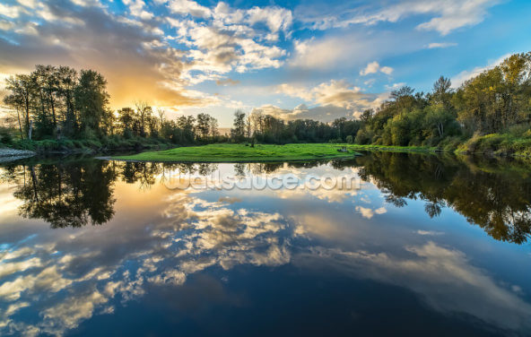 Wide Angle River Clouds Reflection Wallpaper Wall Murals