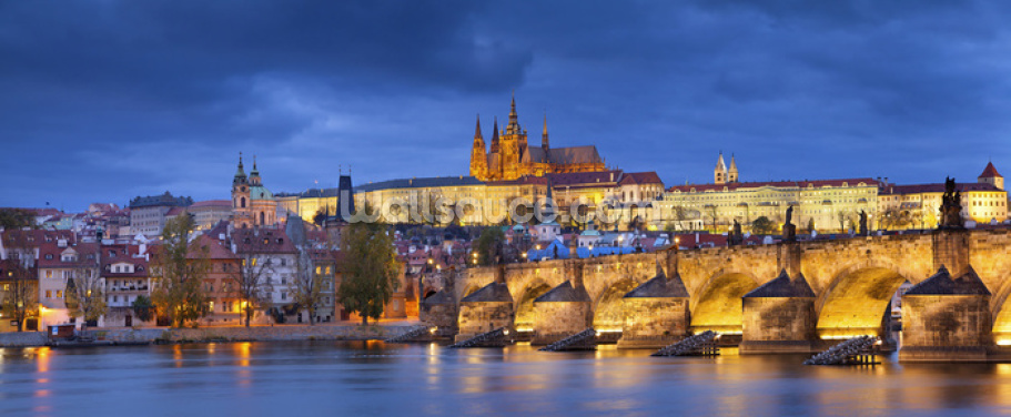 Prague at Night Wallpaper Wall Murals