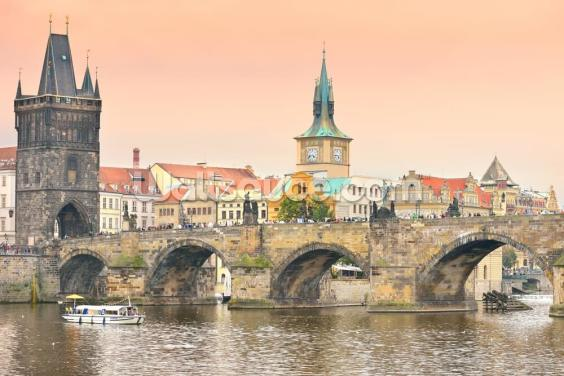 Prague at Dusk Wallpaper Wall Murals