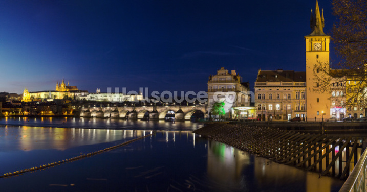 Nightime Prague Wallpaper Wall Murals