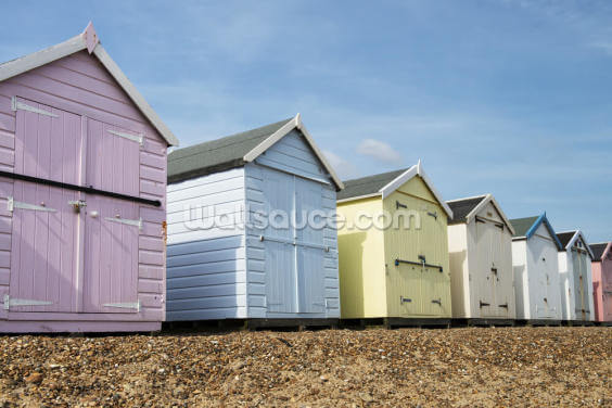 Beach Huts Wallpaper Wall Murals